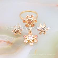 Sun flower cz dubai vergoldet Schmuck-Set