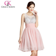 Grace Karin Sleeveless Beaded Short Cocktail Dresses 2015 Pink And Blue Cocktail Dress CL7508-1