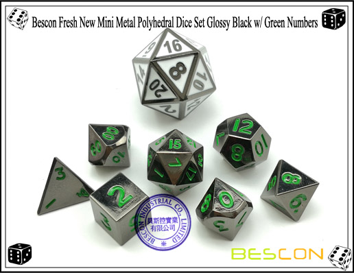 Bescon Fresh New Mini Metal Polyhedral Dice Set Glossy Black with Green Numbers-3