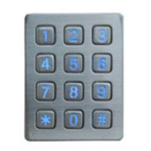 Waterproof garage door illuminated 3x4 matrix metal keypad