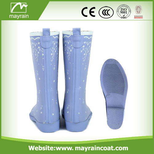 Light Blue and Purple Rain Boots