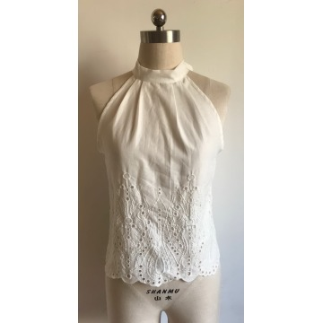 Ladies Sexy Cotton Voile Embroidery Top