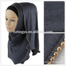 Fashion trend dubai women hot arab wholesale shawl jersey and chain hijab scarf