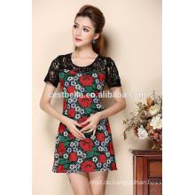 Kundenspezifische Sommer-Damen-Kurzschluss-Hülse gesticktes Partei-Kleid für Frauen
