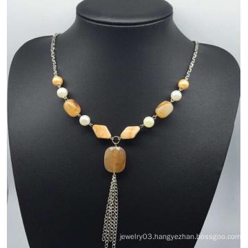 Imitation Jade Sweater Necklace (XJW13755)