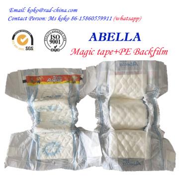 Magic Frontal Tape Película de PE para el mercado de Nigeria Abella Marca Proveedor de pañal de bebé Pañal