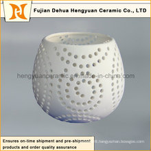 Modern Ceramic Hollowed out Candle Holder with Foot for Decoration
