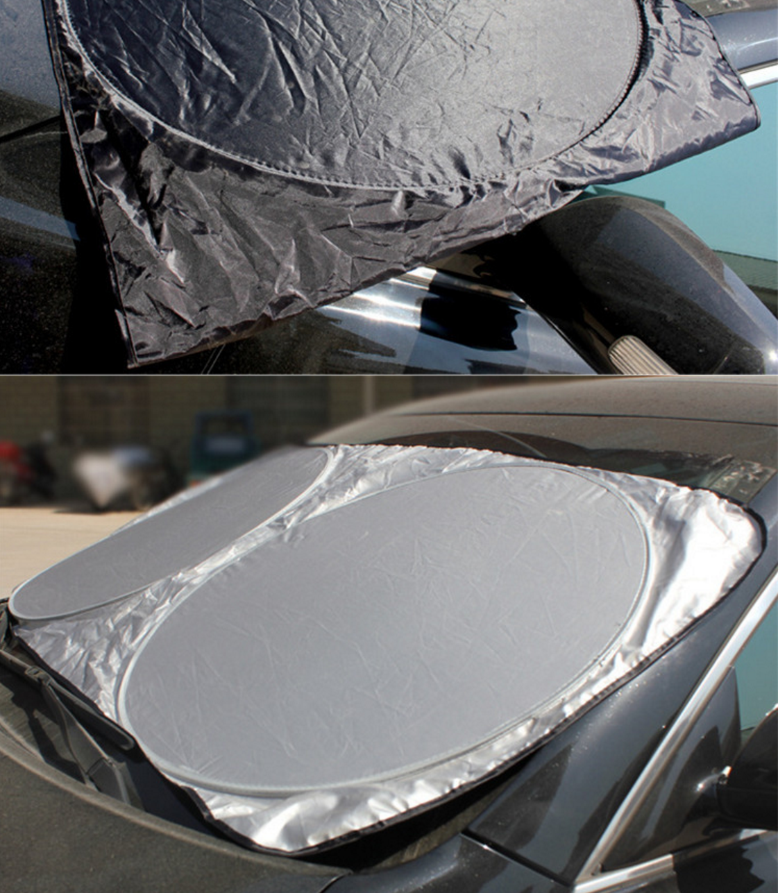 silver coated windshield shades