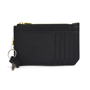 Design de moda Slim Leather Zipper Wallet Titular do cartão