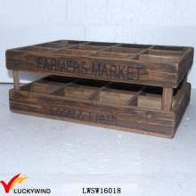 Регенерированная Хранение Хранения Винтажей 12 Бутылок Деревянная Коробка для вина