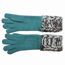 Леди мода шерсть акрил трикотажные зимние теплые перчатки (YKY5420)