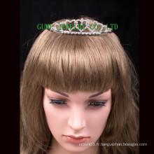 Design de coeur mini strass tiara couronne en cristal d'argent