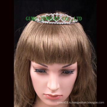 Сердце дизайн мини хрусталь тиара серебро кристалл корону