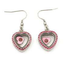 Lovely Heart Floating Locket Pendentif Dangles Boucles d'oreilles pour les filles