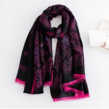 Moda feminina paisley impresso lenço de seda de viscose (yky1129)