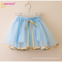 Girl Silk Trim Drawstring Short Skirts Kids Wide Out Pleated Lined Short Skirts