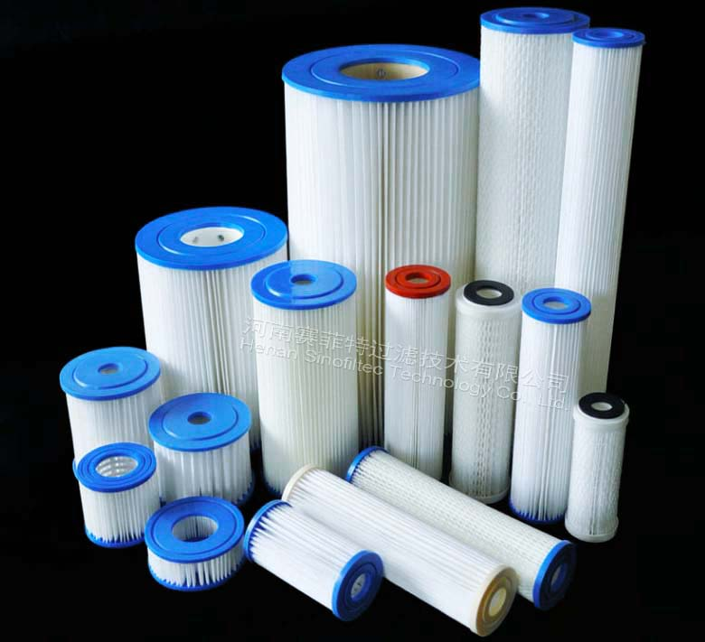 20 inch 5 micron Big Blue Pleated Polyester Filter Cartridge