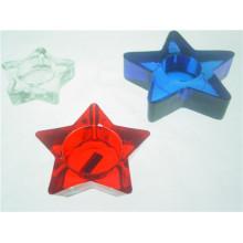 Em forma de estrela de vidro transparente castiçal / castiçal (DGH9.7-3)