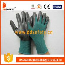 Dunkelgrünes Nylon mit schwarzem Nitril-Handschuh-Dnn814