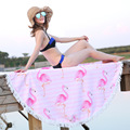Flamingo Themed Round Bright Pink Blue Beach Towel