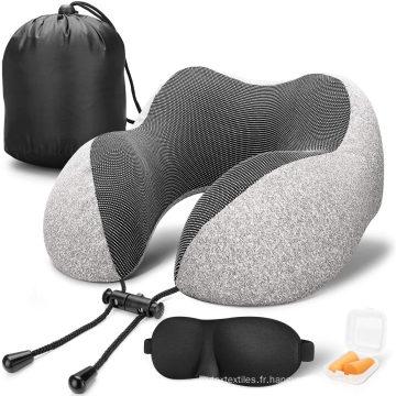 Oreiller de voyage Oreiller cervical en mousse à mémoire de forme 100% pure, housse confortable et respirante, lavable en machine, kit de voyage en avion avec masques pour les yeux profilés en 3D, bouchons d'oreille, un