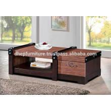 Mesa de centro de madera con estante y cajón