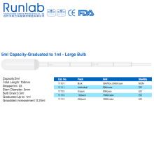 Pipetas de transferencia grandes de la bombilla 5ml con la graduación