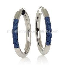 Atacado azul trança couro brinco brincos de aço inoxidável hoop para mulheres jóias fornecedor
