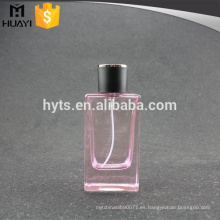 Botella de perfume rosada de cristal vacía 100ml