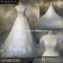 Alibaba Guangzhou Dresses Factory cap sleeves chiffon real sample wedding dress