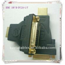 Plaqué or HDMI 19P / F-DVI24 + 1 / MM / F Convertisseur d'adaptateur DVI 24 + 1 à HDMI