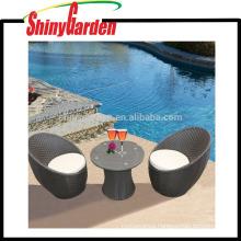 Fashionable Garden 3 pcs steel frame egg shape rattan/wicker sofa