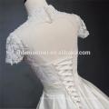 Belle dentelle manches courtes organz jupe pas cher en gros modeste robe de mariée