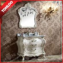 Gabinete de baño antiguo con fregadero y espejo de astillas de 5 mm