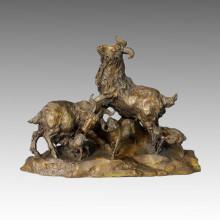 Tier Bronze Skulptur Schaf / Ziege Familie Dekoration Messing Statue Tpal-006