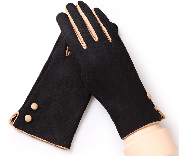 Suede Warm Autumn Winter Gloves Black