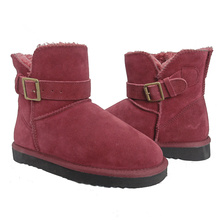 Women's Flat Ankle Snow Boots Suede Buckle