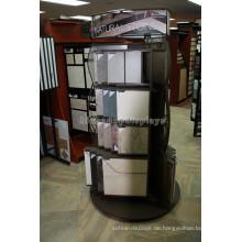 Qualität Runde Form Showroom Holz Basis Metall 2-Wege rotierenden natürlichen Stein Fliesen Display Stand