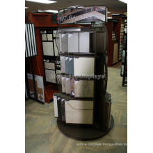 Quality Round Shape Showroom Wood Base Metal 2-Way Rotating Natural Stone Tile Display Stand