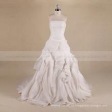 Vintage barco cuello plisado corpiño falda de la colmena una línea vestido de novia encaje