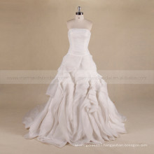 Vintage Boat Neck Pleating Bodice Ruffle Skirt A-Line Wedding Dress Lace Up