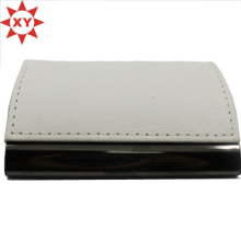Белый кожаный держатель для визитных карточек Металлический держатель для идентификационной карты