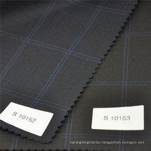 blue window pane wool polyester fabric suits fabrics for suit mens