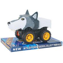 Brinquedo animal engraçado do carro do lobo dos desenhos animados