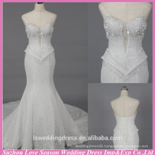 WD6027 Quality fabric heavy handmade export quality sexy mermaid strapless wedding dresses floral crystal beaded wedding dress