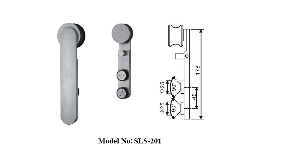 Stainless Steel Crescent Sliding Shower Door Kits