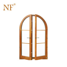 Arch mahogany double hand carved aluminum entry door