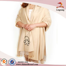 Cheap Skull Cream Viscose Plain Shawl