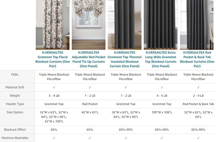 More Styles Indoor Curtains