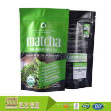 Custom Printing Private Label Resealable Matcha Tea Packaging Stand Up Pouches 100g